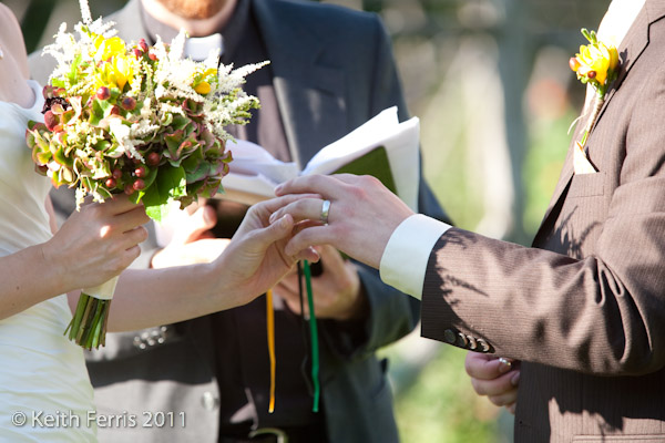 The groom puts the ring on the bride at mohonk