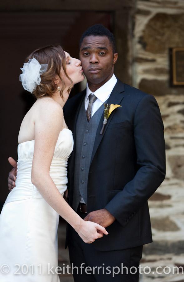 the bride kisses the groom in Beacon NY