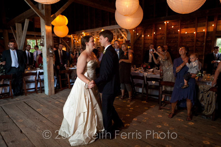 the couples first dance in the barn at Shadow Lawn
