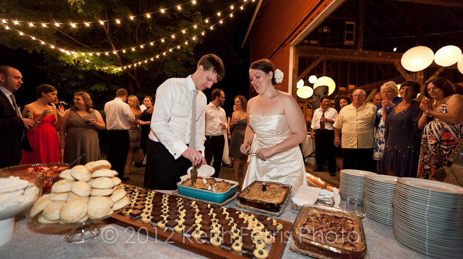 the cake cutting outside the barn