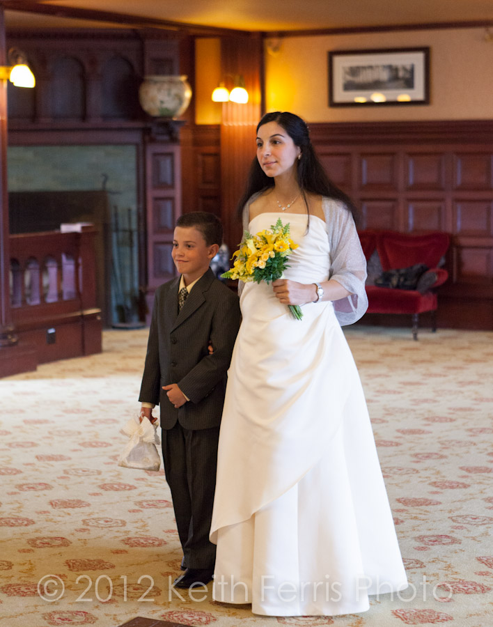 the bride walks into the parlor at Mohonk during her wedding