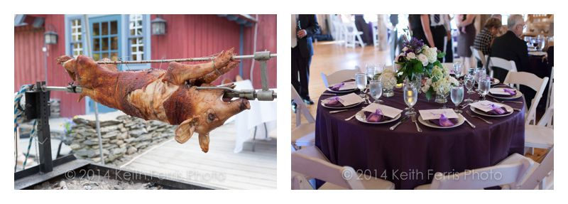 pig on a spit and table setting