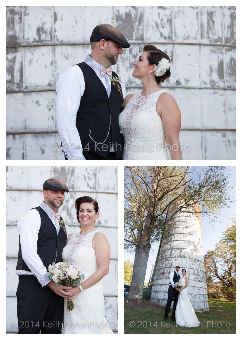 wedding portraits against a silo