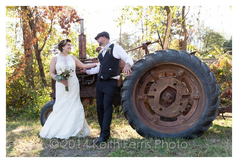 wedding portrait with a rusty tractor