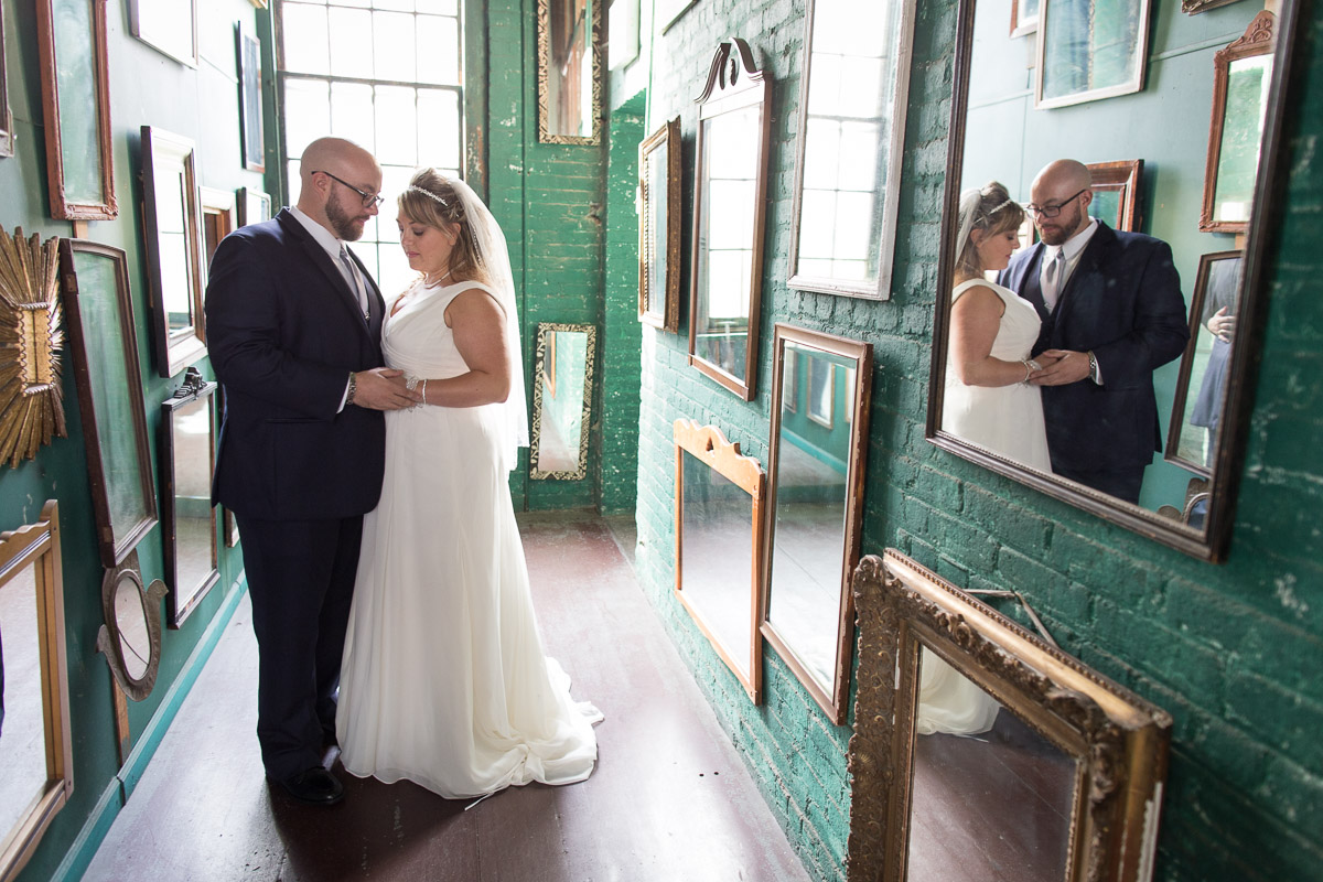 Bride and Groom with Mirrors