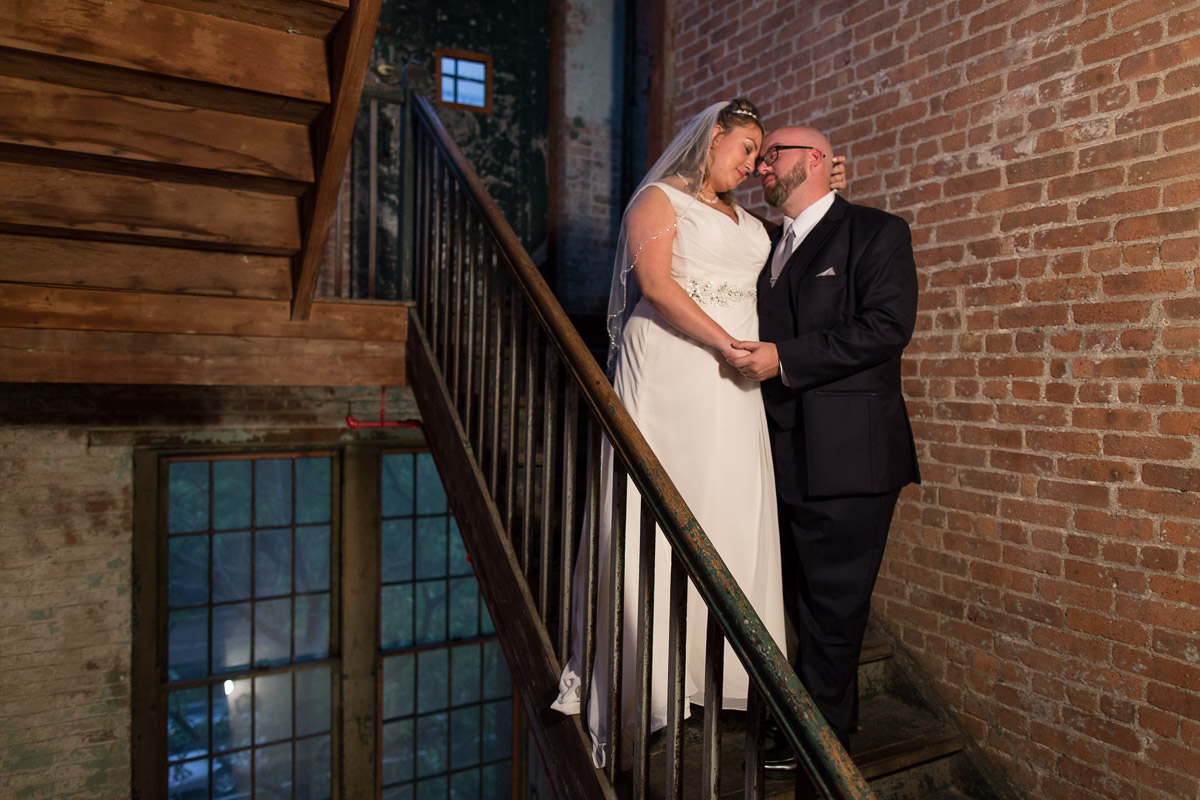 wedding portriat in a stairwell