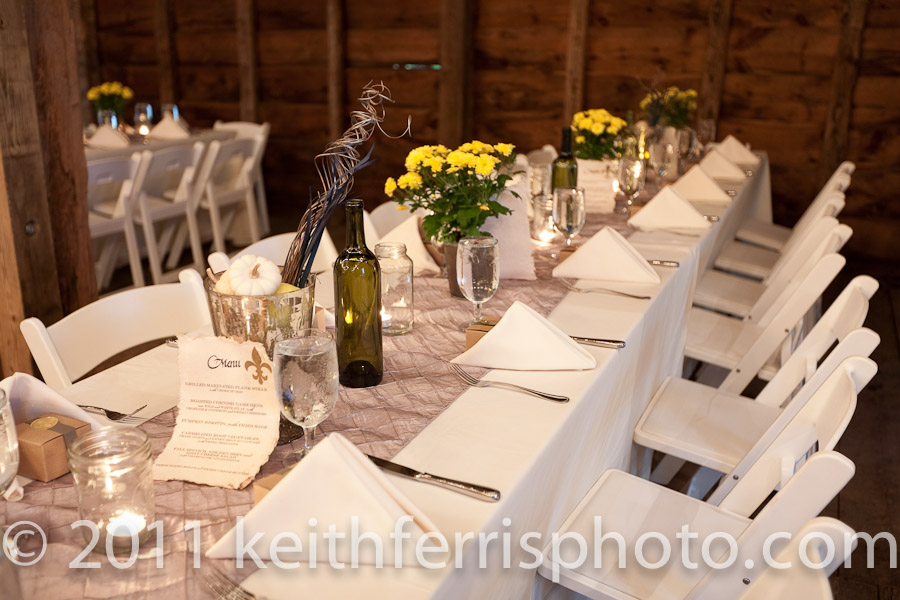 Bridge Creek Catering barn wedding
