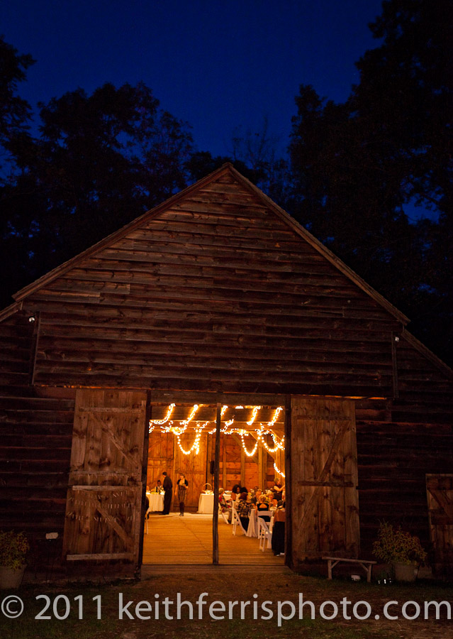 barn wedding outside at twilight