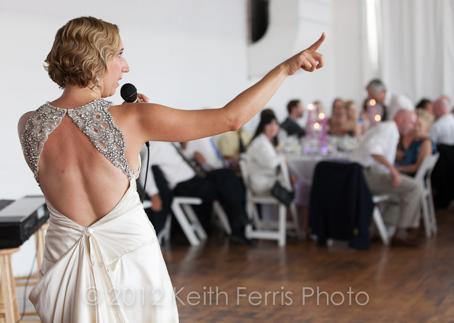 bride singing a song at her wedding LIC