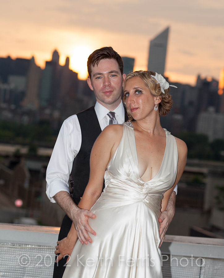 Long Island City rooftop wedding photography at sunset