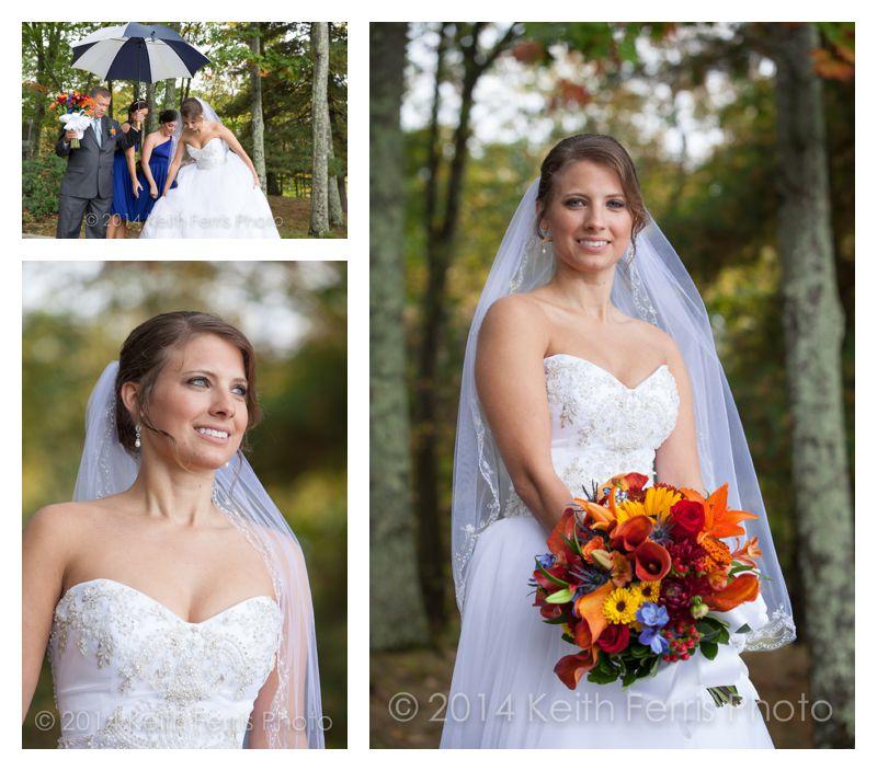 bridal portraits in the rain at Copake Lake