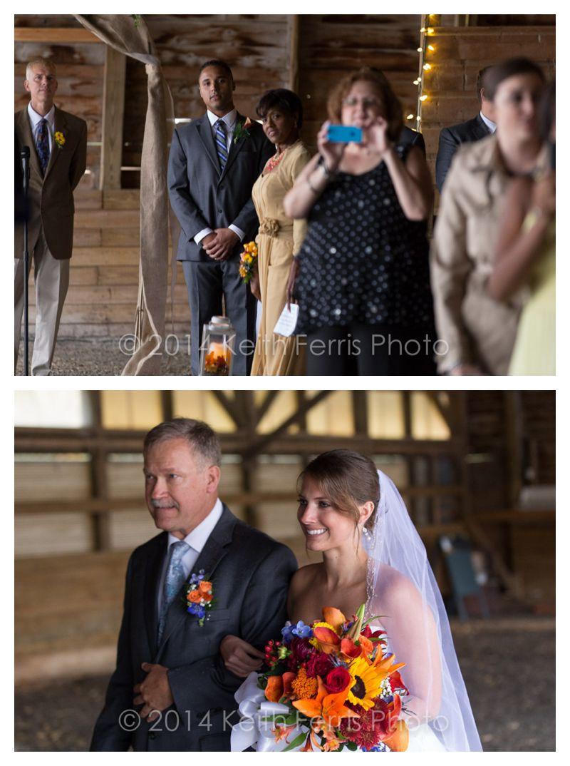 the bride walks down the aisle