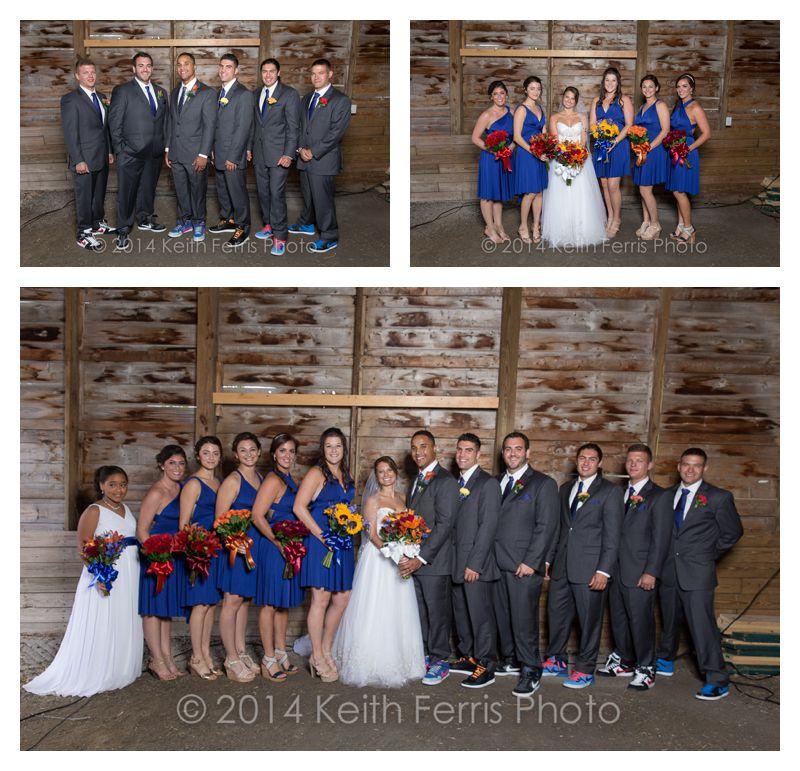 wedding party photos in a barn