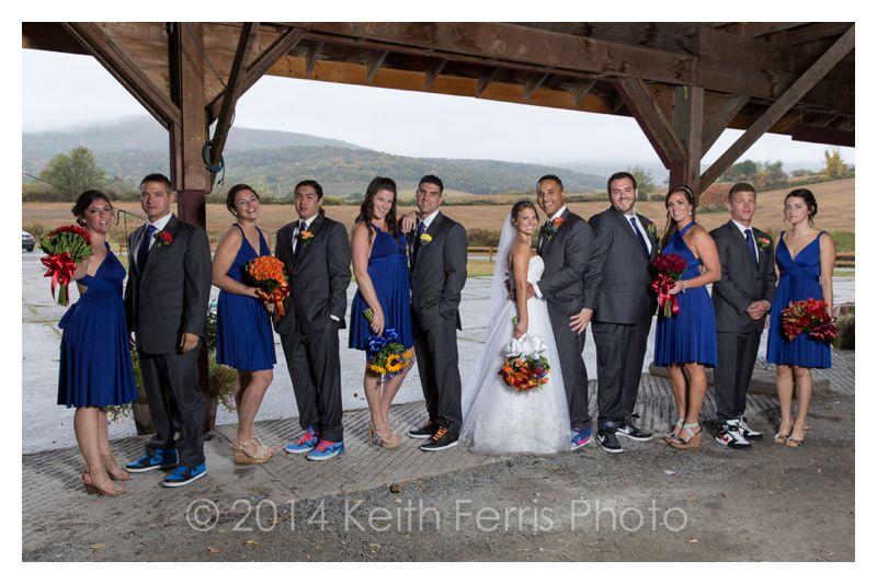 wedding party photos in the rain
