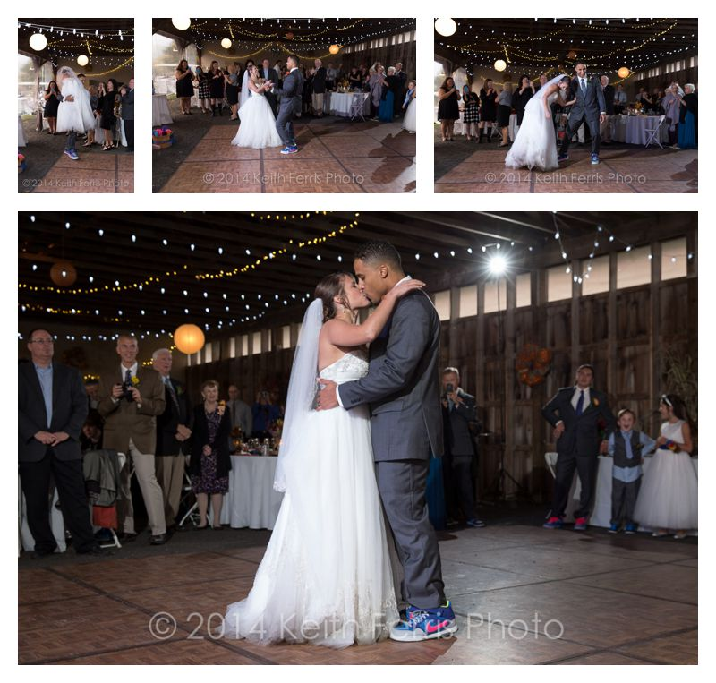 the first dance at a barn wedding