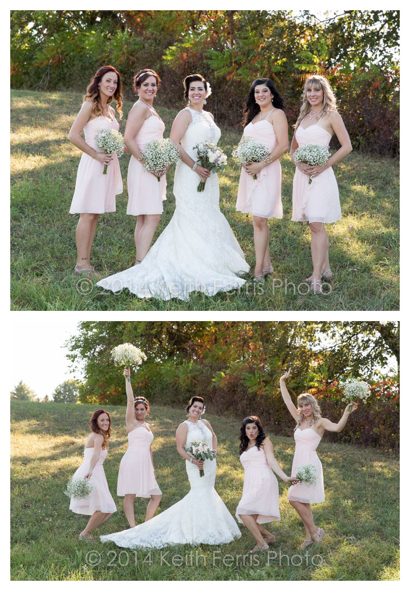 bridesmaids photos in pink dresses