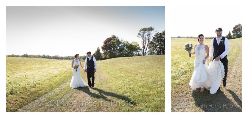 wedding photos in a field